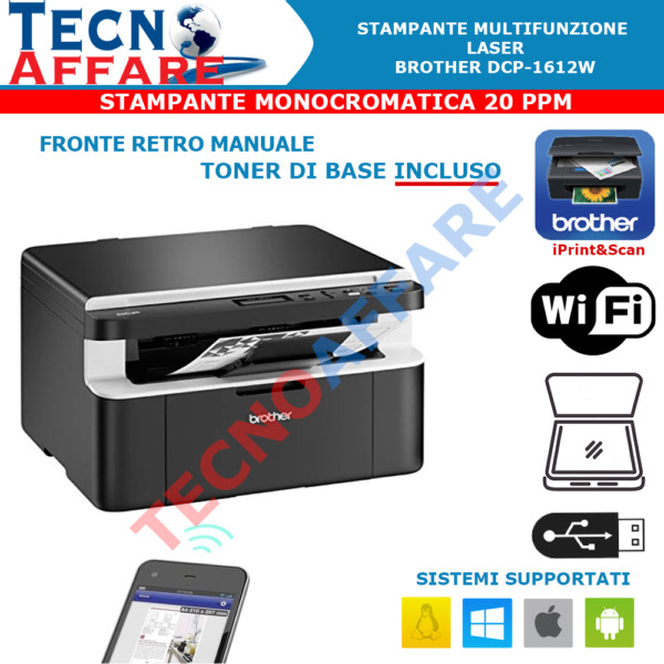 Stampante Wireless Laser Multifunzione Monocromatica 20 PPM Brother DCP-1612W