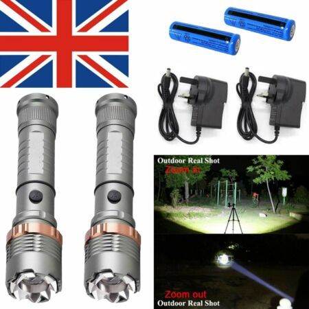 img-1/2X 800000LM Rechargeable LED Flashlight Zoom Military Torch Lamp+Charger+18650