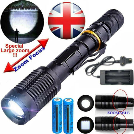 img-Tactical Light Outdoor 800000LM 5Mode T6 LED Flashlight Lamp Zoom Camp Torch Set