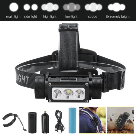 img-16000lm Tactical XM-L2+XP-G2 Led Headlamp Type-C Torch Rechargeable Lamp 21700