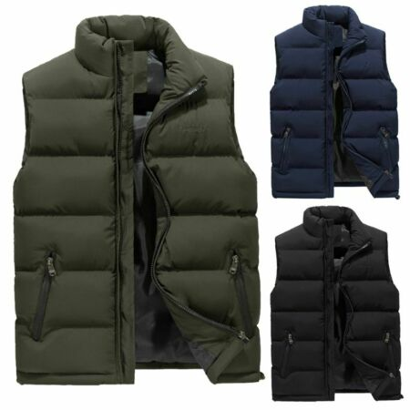img-Men's Winter Down Quilted Vest Body Warmer Warm Waistcoat Padded Jacket Coat
