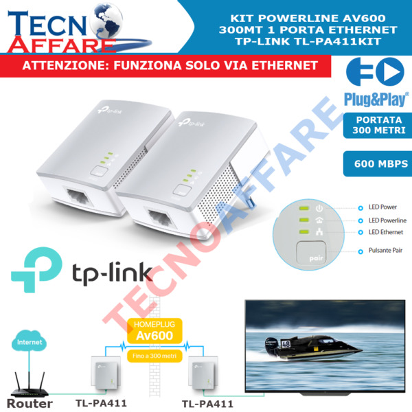 Kit Powerline AV600 Adattatore di Rete Ethernet 600Mbps Tp-Link TL-PA411KIT