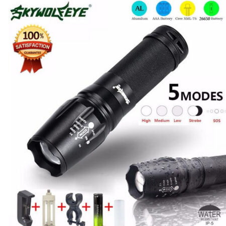 img-G700 LED 5000 Lumen Zoom Flashlight X800 Military Lumitact Torch 18650
