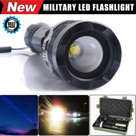 img-6000 Lumens CREE XM-L T6 LED Adjustable Focus Military Flashlight Zoomable Torch