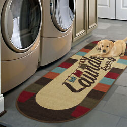 Kyпить Laundry Room Rug Runner Mat Non-Slip Stain Resistant Charming Wash Room 20