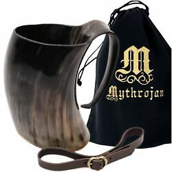 Kyпить Viking Horn Mug Tankard with Leather Strap Safely Holds Hot & Cold Liquids на еВаy.соm