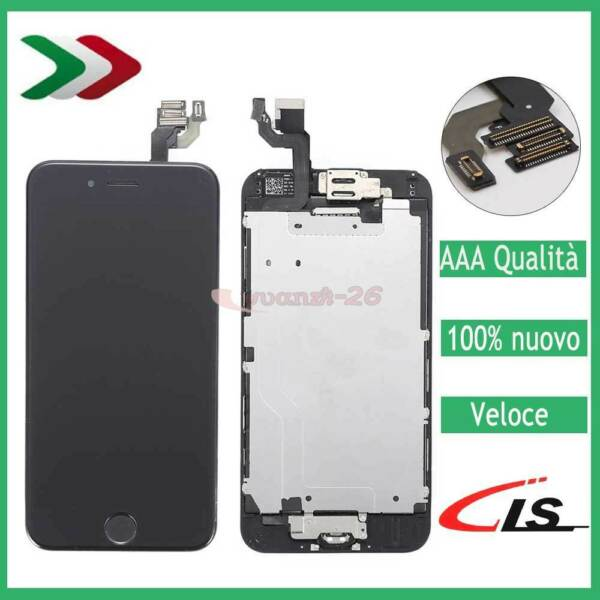 SCHERMO TOUCH LCD DISPLAY PER IPHONE 6 ASSEMBLATO VETRO COMPLETO BUTTON &CAMERA
