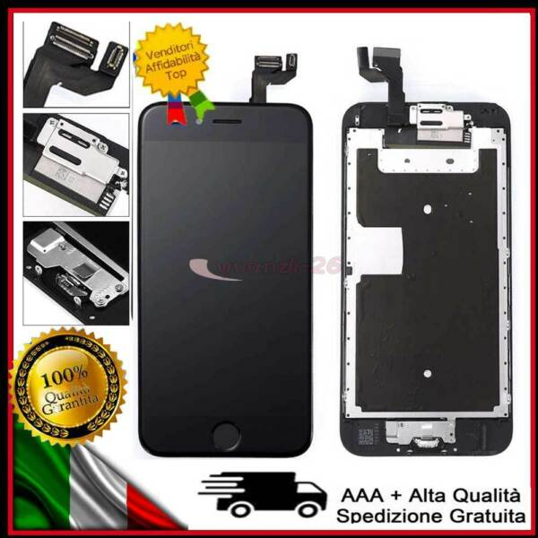 PER IPHONE 6S LCD DISPLAY SCHERMO ASSEMBLATO COMPLETO + Pulsante Camera NERO