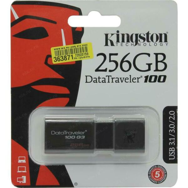 PENDRIVE 256GB DATATRAVELER DT100 G3 USB 3.0 DT100G3/256GB KINGSTON PEN DRIVE 25