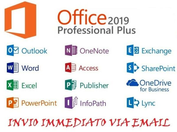MICROSOFT OFFICE 365/2019 PRO PLUS Licenza a vita 5 dispositivi 1TB Onedrive ITA