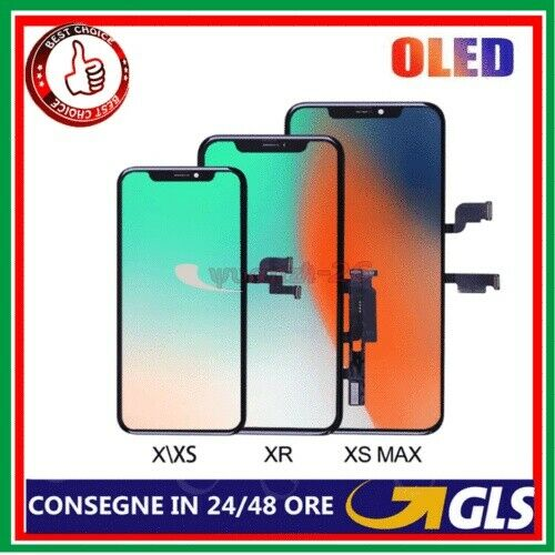 DISPLAY LCD OLED  APPLE IPHONE X 10 XS XR SCHERMO VETRO TOUCH SCREEN TIANMA NERO