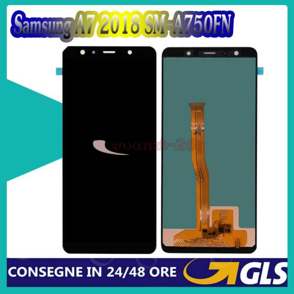 Touch Screen Per Samsung Galaxy A7 2018 SM-A750FN LCD Display Nero Vetro Schermo