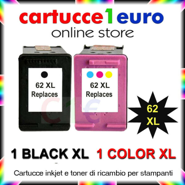 2 cartucce rigenerate HP COLORE e NERO 62XL PhotoS Envy 5540 5640 OfficeJet 5740