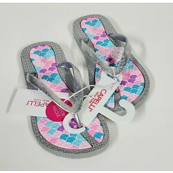 Capelli New York Girls, Size 12/13 Flip Flop, Silver And Mermaid Print
