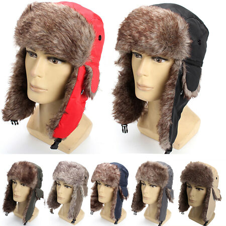 img-Mens Women Aviator Trapper Hat Faux Warm Russian Cap Ear Flaps Ski Winter Warmer