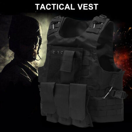 img-Tactical Military Vest Molle Combat Assault Plate Carrier for-Paintball Airsoft