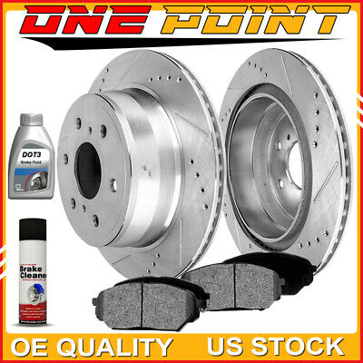 Rear Silver Drilled Slotted Rotors & Ceramic Pads 2007-13 Chevy Avalanche Tahoe