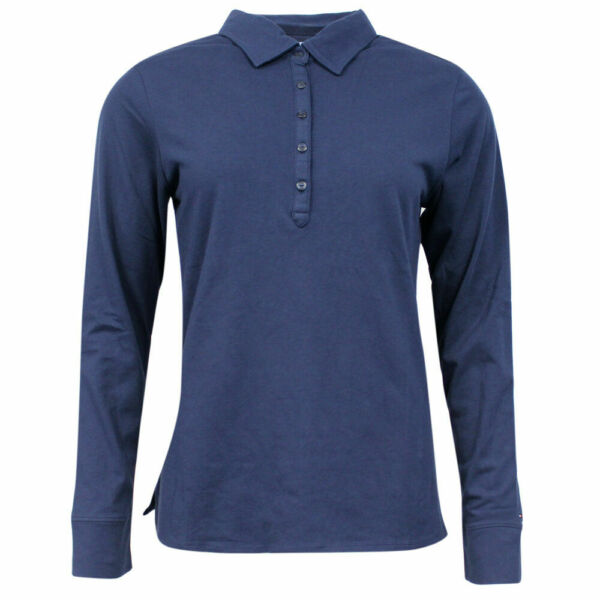 Royaume-UniTommy Hilfiger Golf Long Sleeved Womens Polo Shirt Top Navy Blue TW103 31 A76B