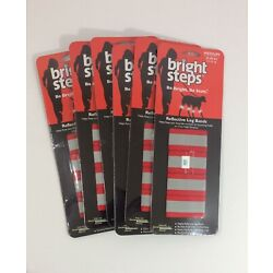 New Reflective Leg Bands Pet Dogs Bright Steps Medium 45-80 lbs Lot of 6 Pkg Red