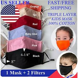Face Mask BOYS GIRLS KIDS Triple Layers 100% Cotton Washable Reusable W/ Filters