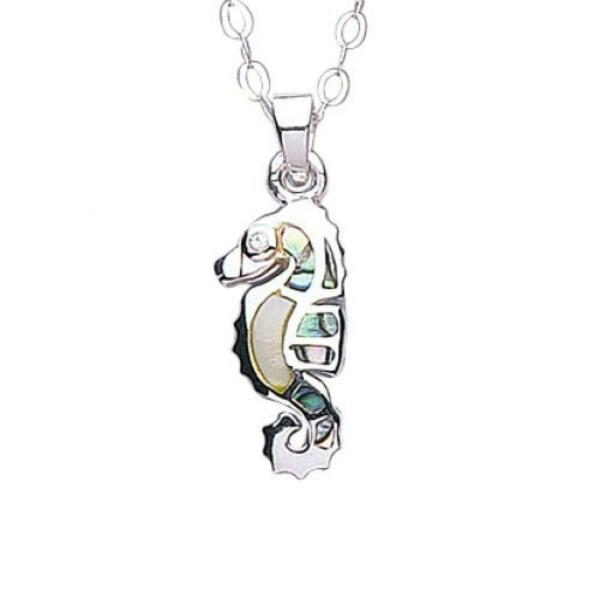 Royaume-UniJo For Girls Argent  Coquillage Paua Hippocampe Pendentif Collier 35.6cm