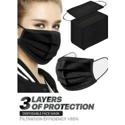 Kyпить 100 Pcs Black Face Mask Mouth & Nose Protector Respirator Masks with Filter на еВаy.соm