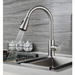 Kyпить KITCHEN / BAR FAUCET SWIVEL DECK MOUNT SINGLE HOLE TAP BRUSHED STAINLESS STEEL на еВаy.соm