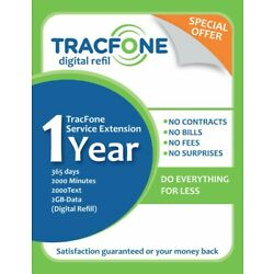 Kyпить Tracfone Service Extension 1Year /365 Days 2000Minutes/2000Text/2GBData Digital на еВаy.соm