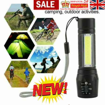 img-LED Torch USB Rechargeable Flashlight Police Tactical Zoom Outdoor Camping Lamp