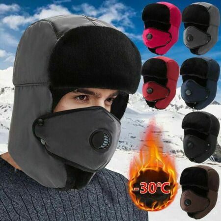 img-Mens Aviator Trapper Trooper Ski Hats Winter Earflap Russian Face Mask Cap Warm