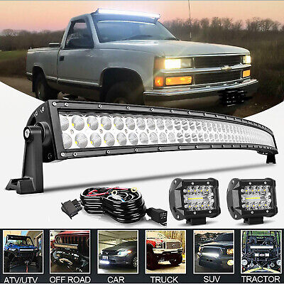 52inch Curved LED Light Bar + 4''Pods Combo for 99-06 Chevy Silverado/GMC Sierra