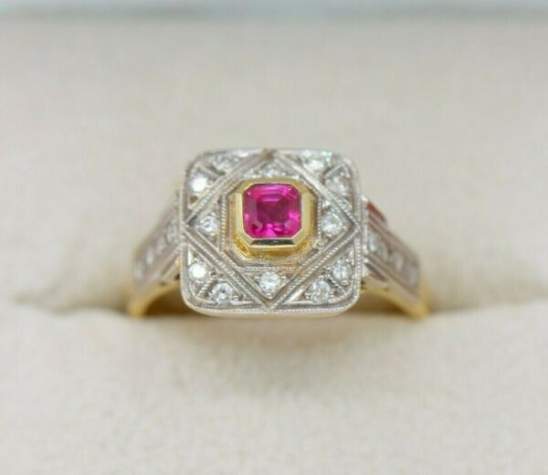 Royaume-UniBJC® 18ct Yellow Gold Ruby & Diamond Vintage Style Size N Royalty Ring R300