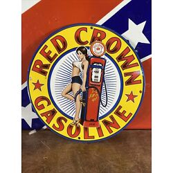 Kyпить 1938 VINTAGE STYLE ''RED CROWN''  GAS & OIL PUMP PLATE 12 INCH PORCELAIN SIGN на еВаy.соm