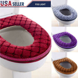 Kyпить Bathroom Toilet Seat Cover Soft Plush Washable Winter Warmer Mat Pad Cushion US на еВаy.соm
