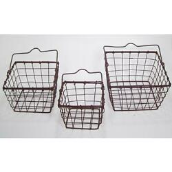 Square Metal Wire Baskets Set of 3 Organizer Holder Rustic Country Style