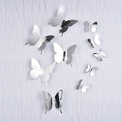 BBTO 36 Pieces DIY Mirror Butterfly Combination 3D Mirror Wall Stickers Home