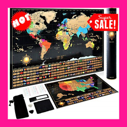 Kyпить Scratch Off World Map Poster + Deluxe United States Map –Includes Complete Acc на еВаy.соm