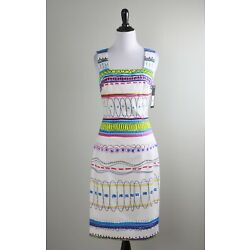 DAVID MEISTER NWT $395 Geo Stripe Square Neck Lined Cotton Dress Size 2