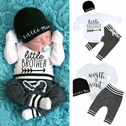Kyпить US Newborn Infant Baby Boy Little Brother Long Sleeve Romper Pant Outfit Clothes на еВаy.соm