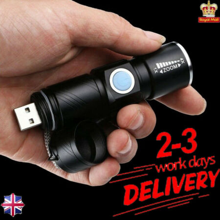 img-Ultra Bright MINI CREE LED Light Tactical USB Rechargeable Flashlight Torch Lamp