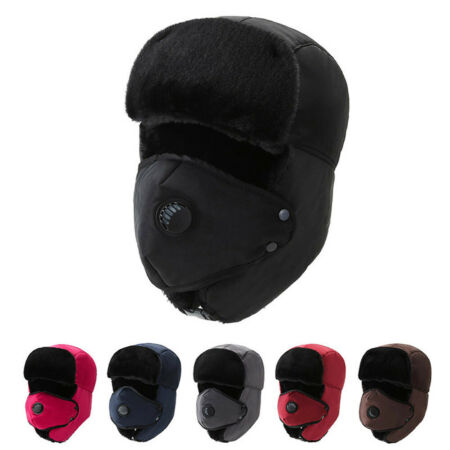 img-Women Men's Trapper Hat Russian Ushanka Winter Warmer Removable Mask Ski Cap UK