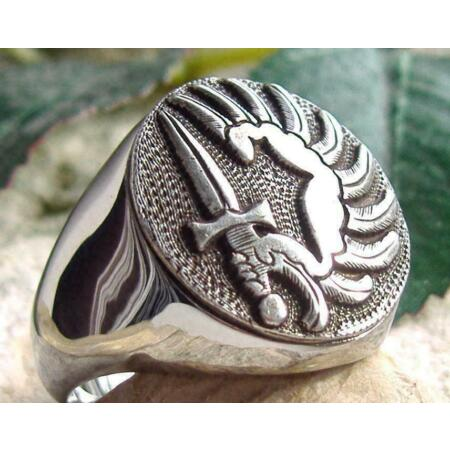 img-Solid Metal Foreign Legion Parachute French Army Men's Ring 925 Sterling Silver