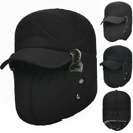 img-Hot Winter Earflap Warm Russian Face Mask Ski Cap Outdoor Aviator Trapper Hat
