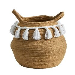 11  Boho Chic Handmade Natural Cotton Woven Basket With Tassels