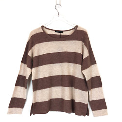 NWT Lusso Heather Carmel Color Block Pull Over Cashmere Sweater Size Large