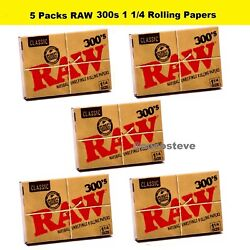 RAW Classic 300s 1 1/4 Rolling Papers 5 PACKS - Natural Unrefined 300 1.25