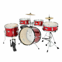 Kyпить 5 Piece Full Size Complete Adult Drum Set Kit with Stool & Sticks Red на еВаy.соm