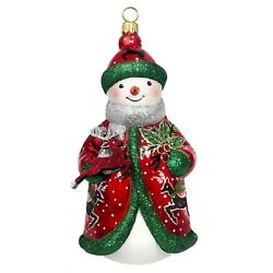 Kyпить Glitterazzi Red Green and Silver Reindeer Snowman Polish Glass Ornament на еВаy.соm