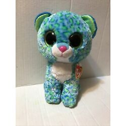 "Kyпить TY Beanie Boo Leona Leopard Blue/Green Cat 6"" Glitter Eyes на еВаy.соm"