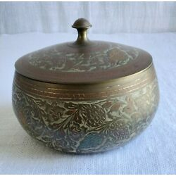 Brass Engraved Vessel with Lid